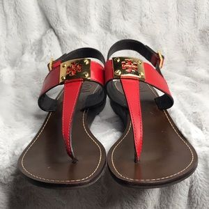 Tory Burch Red T-Strap Wedge Sandals